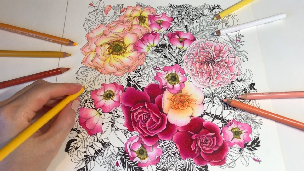 Flower Pictures To Color And Print Rose Colour Flowers Colouring Book