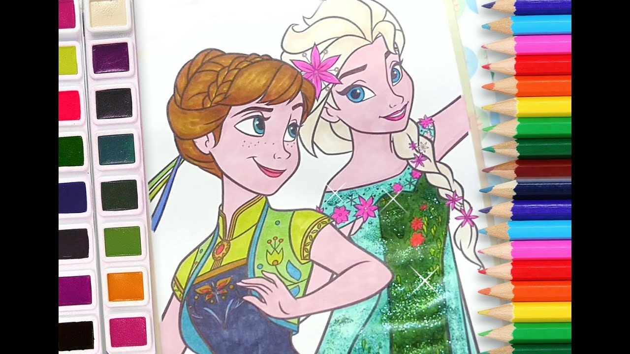 Elsa And Anna Coloring Book Disney Frozen Pages For Kids