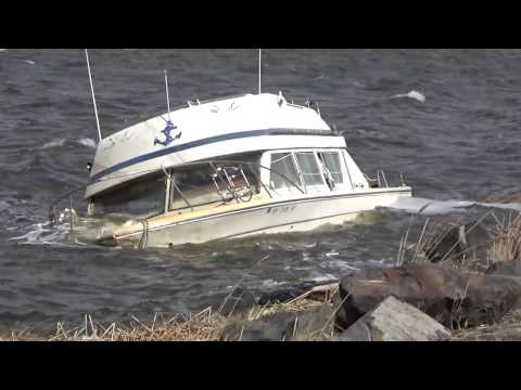 Storm Sinks A Boat In Great Kills Harbor On Staten Island, NY