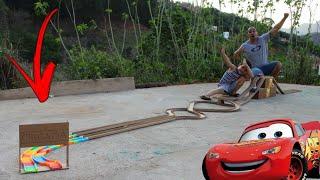 FIZEMOS UMA SUPER PISTA GIGANTE PRA CARRINHO MALUCO!!! McQueen vs Jipe