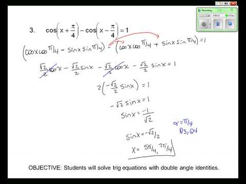 Topic 5-3 Double Angle Equations with Identities