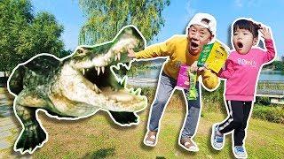 으악 악어다!! 쓰레기를 함부로 버리면 안돼요!! 마법 텐트 장난감 놀이 Yuni Pretend Play with Playhouse Tent Toy - 로미유스토리 Romiyu