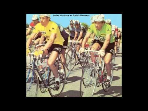 Tour de France 1976:Lucien Van Impe (geel) en Freddy Maertens (groen) met 8 ritoverwinningen