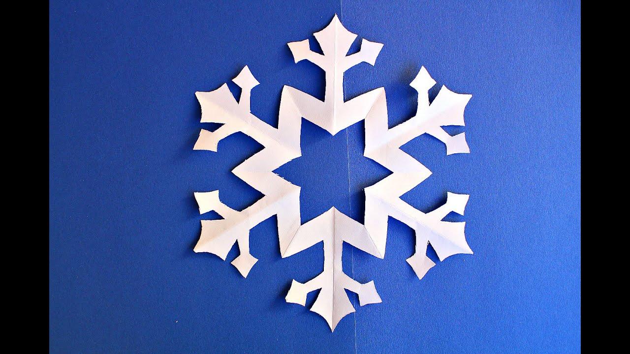 Как вырезать простую Снежинку из бумаги. Новогодние поделки из бумаги
