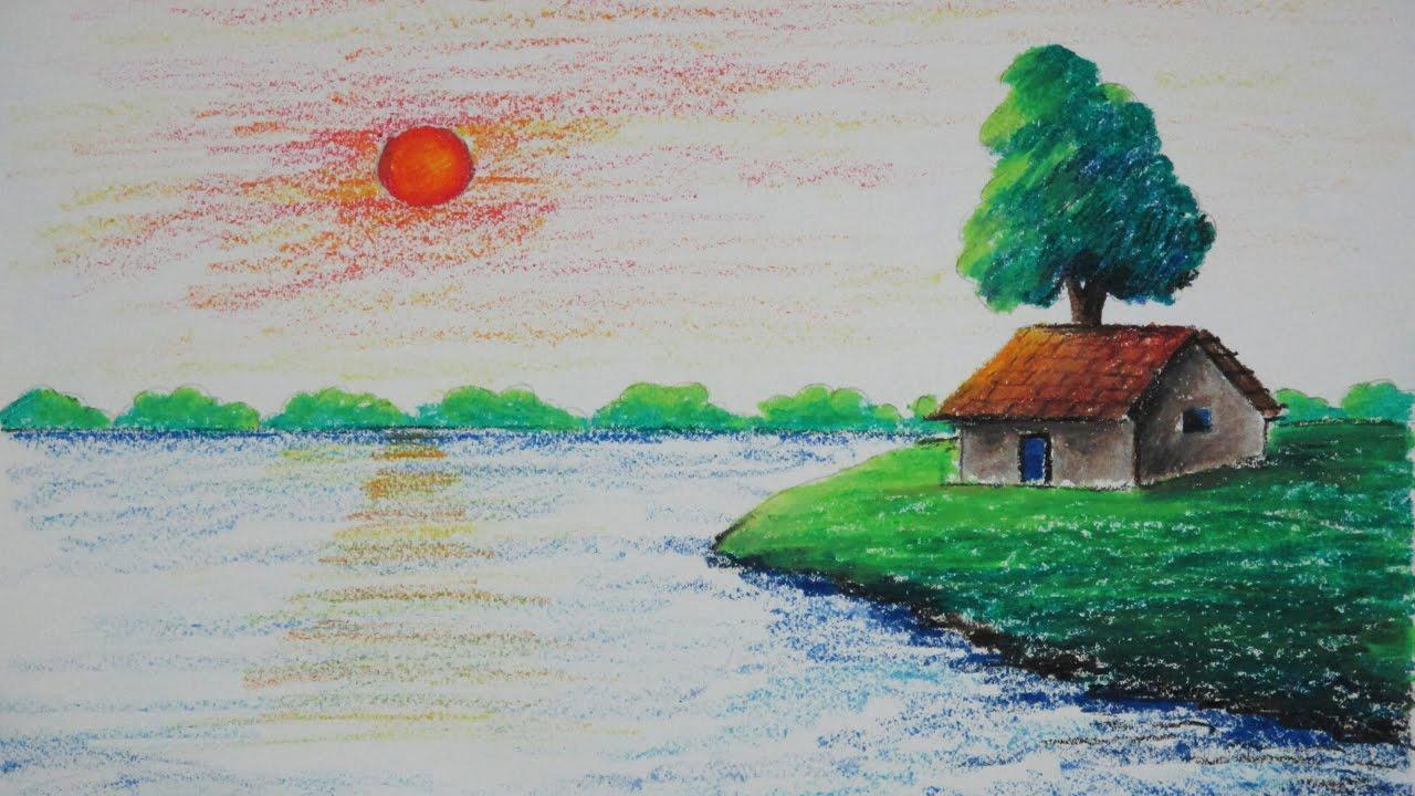 Rainbow landscape original oil pastel drawing - Rainbow Landscape Original Oil Pastel Drawing 43