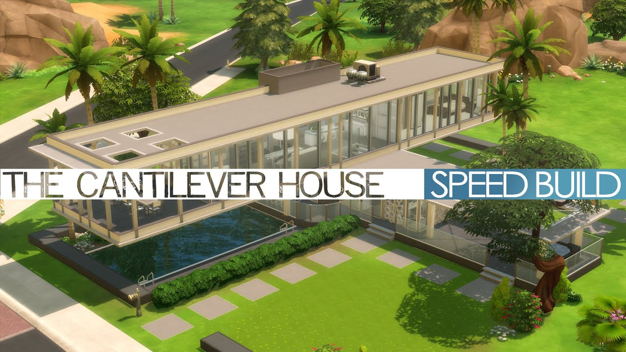 The sims 4 speed build the cantilever house youtube for Can you build a house for 100k