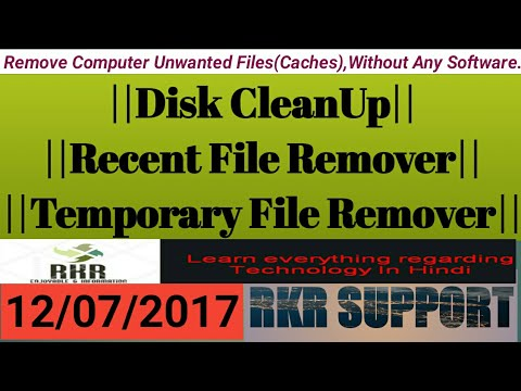 Disk CleanUp||Recent File Remover||Temporary File Remover||Without Any Software.