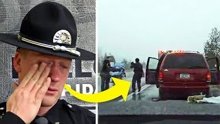 Cop Pulls Over Van For Routine Traffic Stop. Breaks Out Handcuffs When He Spots Toddler In Back Seat
