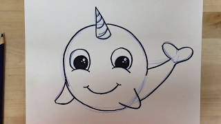 How to Draw a Cartoon Narwhal