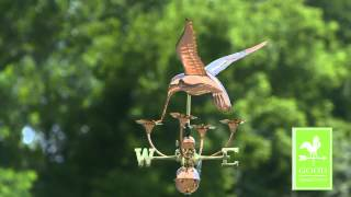 Gd913p Hummingbird With Flowers Weathervane Polished Copper