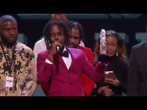 Popcaan Jamaican artist winning the Mobo award for best dancehall artist November 2016