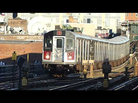 IRT Flushing Line: R188 7 Trains At 74th St Broadway (Weekend G.O.)