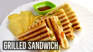 Grilled Sandwich Recipe - Veg Grilled Cheese Sandwich - Grilled Paneer Sandwich - Recipe in Hindi