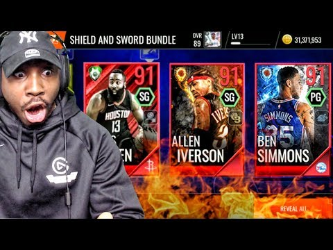 NEW 91 MASTER IVERSON & SIMMONS IN FIRE & ICE PACK OPENING! NBA Live Mobile 18 Ep. 23