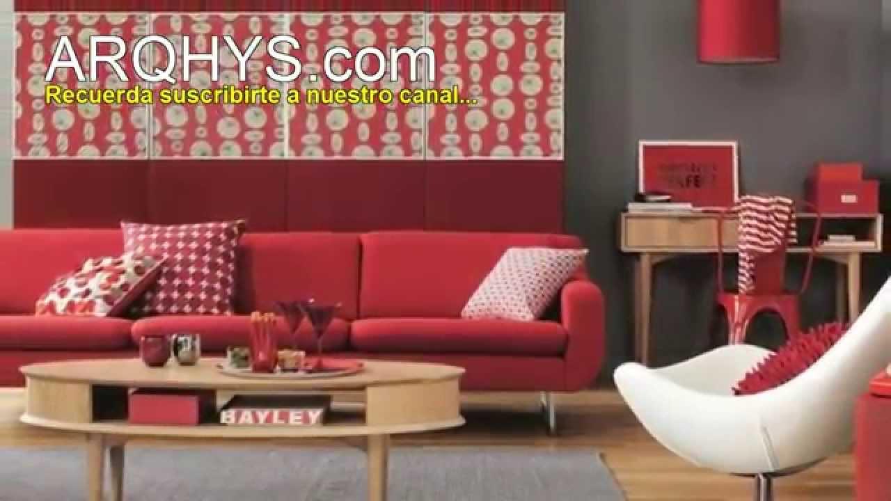Decorar la sala con el color rojo Ideas consejos