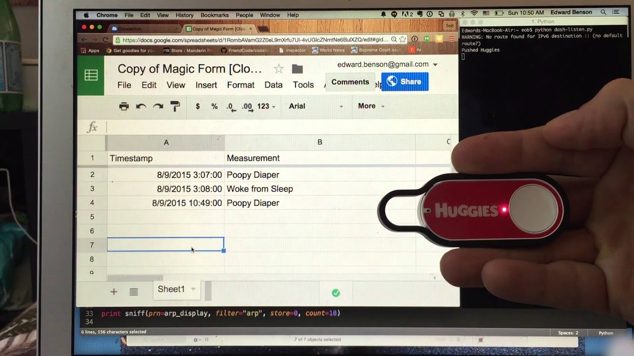 Hacking Amazon's Dash Buttons to Upload Datapoints to a Google Spreadsheet