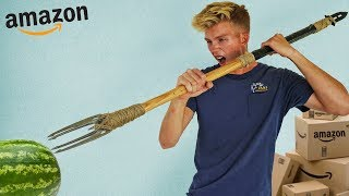 We built Apocalypse Survival Weapons using ONLY items bought on Amazon!!