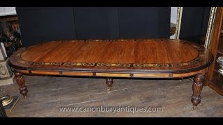 Large Victorian Walnut Inlay Dining Table