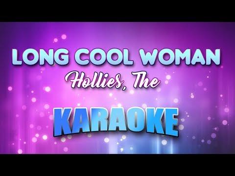 Long cool woman in a black dress karaoke