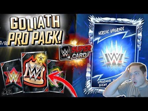 SURPRISE GOLIATH PRO PACK OPENING!! HEROIC MODE STRUGGLE! | WWE SuperCard