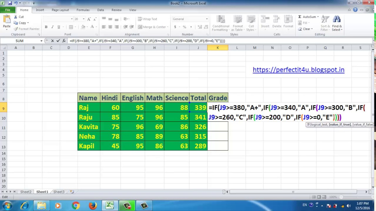 HOW TO USE GRADE FORMULA IN EXCEL 2010,2007,2013