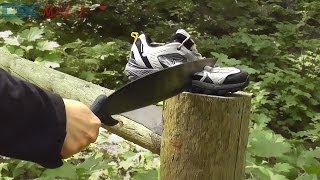 Shoe testing the fun way - Hacking, chopping, stabbing, shooting!