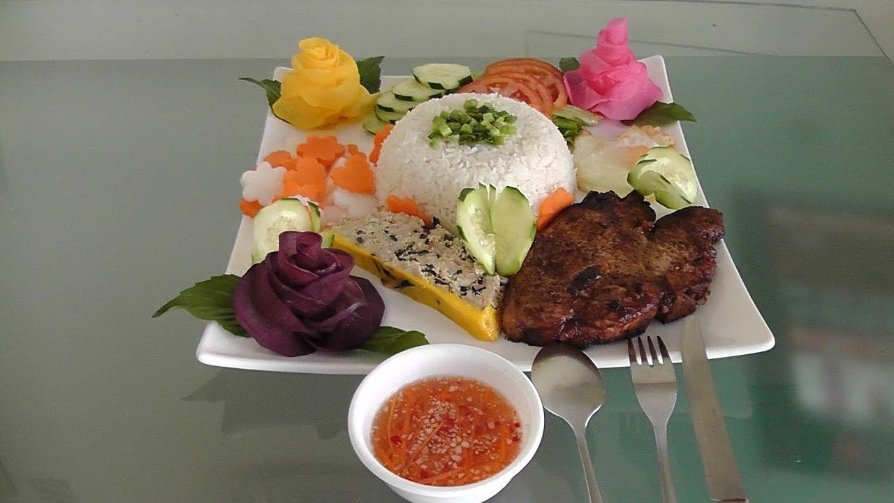 Vietnamese pork chop rice plate recipe