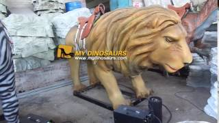 Coin operated animated animal lion rides
