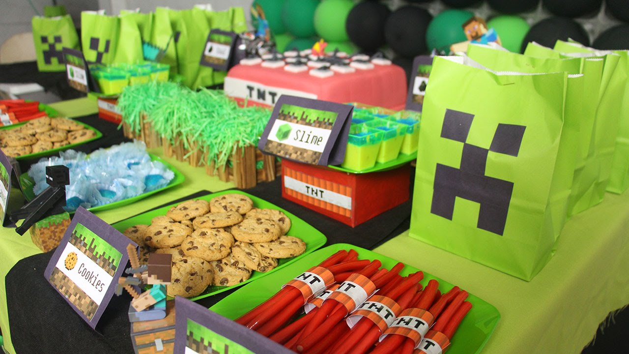 festa minecraft decoração simples