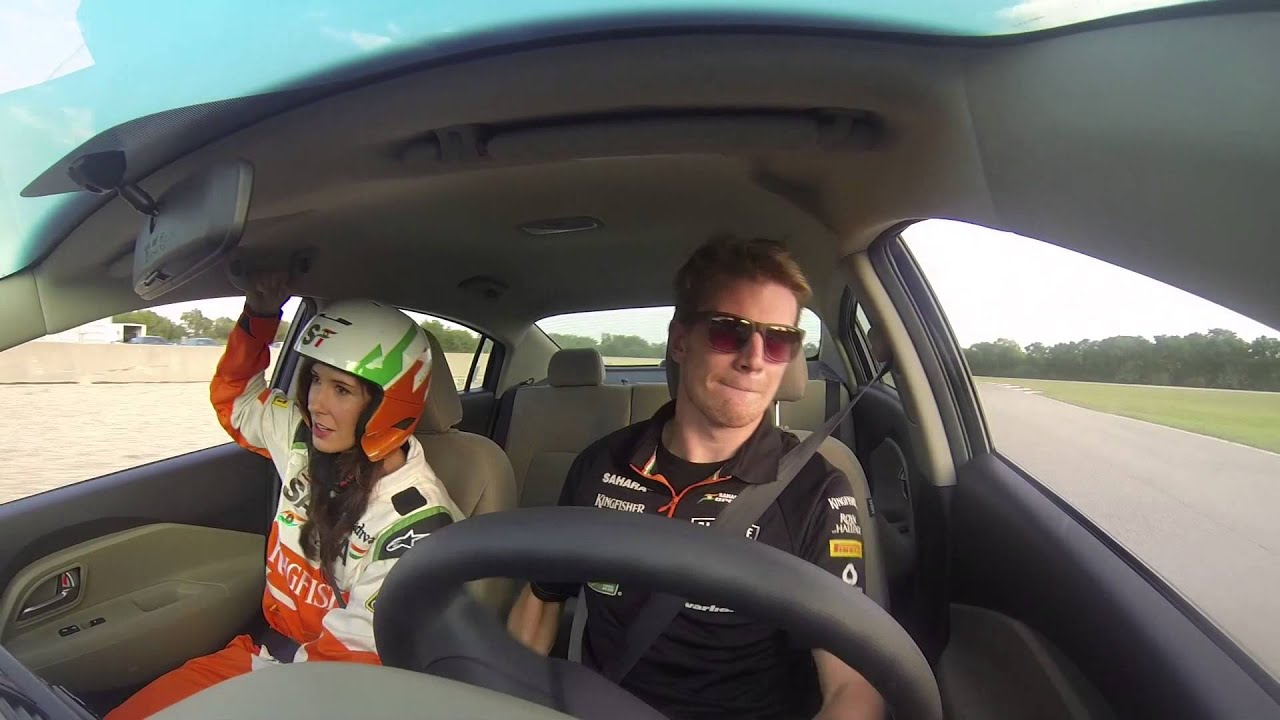 Nico Hulkenberg scares lady with fast driving!