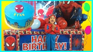 giant surprise box opening spiderman power wheels ride on happy birthday toys cars egg surprise