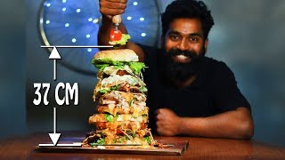 BURGER CHALLENGE - India's Largest Burger | M4 Tech Vlog | 14.5 Inch ( 37 CM )