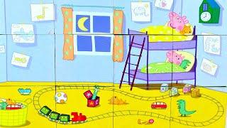 Свинка Пеппа и Джордж Пора спать собираем кубики пазлы для детей с героями мультика свинка пеппа