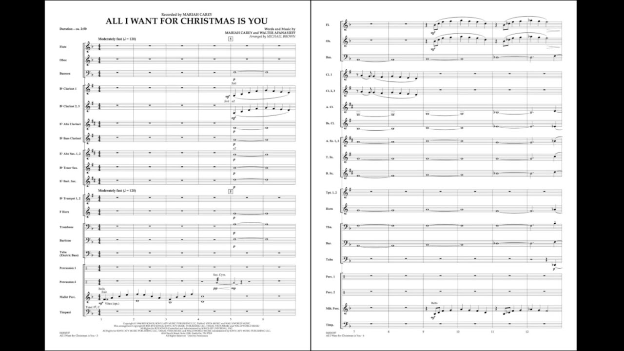 All I Want for Christmas Is You arranged by Michael Brown - YouTube