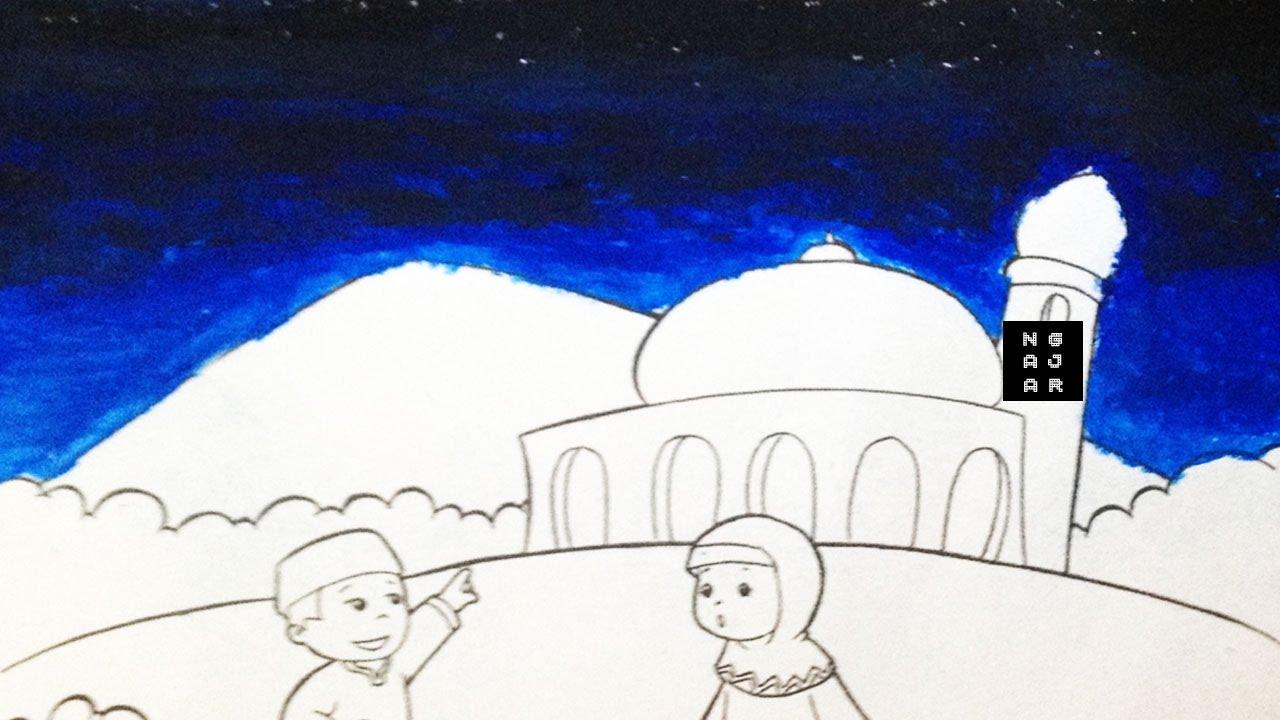 Cara Mewarnai Langit Malam Dengan Crayon Anak Tk Sd Bagus Youtube