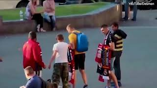 Ukranian football hooligan attacking Liverpool fans before the Champions League finals in Kiev ! Ups