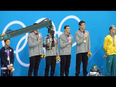 Michael Phelps last medal ceremony London 2012 national anthem of the USA