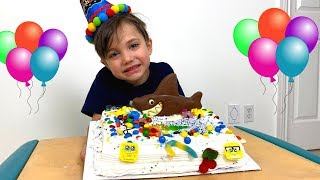 Zack Pretend play making Happy Birthday Cake for his friend party