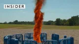 a hypnotic fire tornado by the slow mo guys
