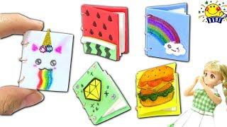 リカちゃんがミニチュアノートを手作り工作★ 手探りボックスを使ってユニコーン文房具をDIY★ Miniature  Notebooks たまごMammy
