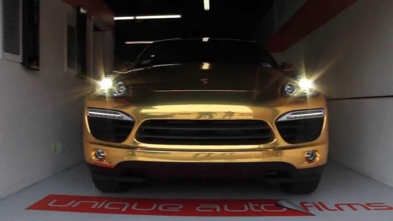 Unique Auto Films 2014 Porsche Cayenne Gold Chrome Vinyl