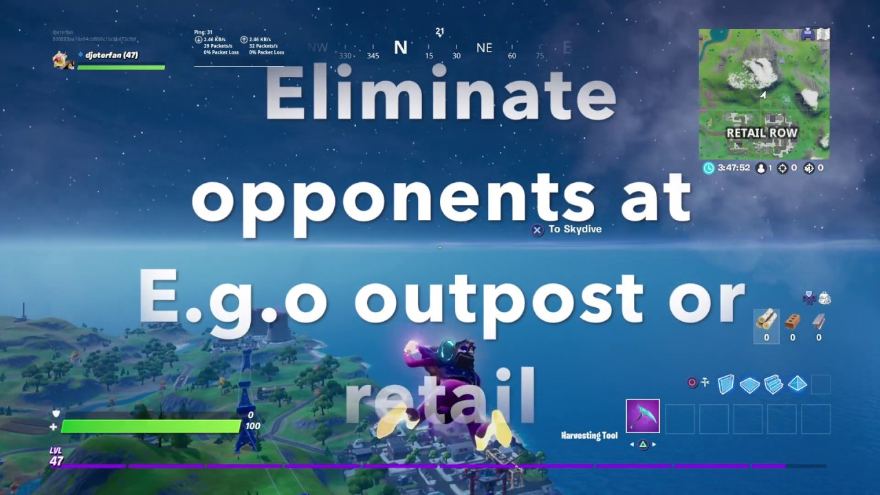Eliminate Opponents At E G O Outpost Or Retail Row Location Fortnite Forged In Slurp