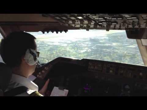 Заход в а/п Лос Анжелес Боинг 747-400 Трансаэро.