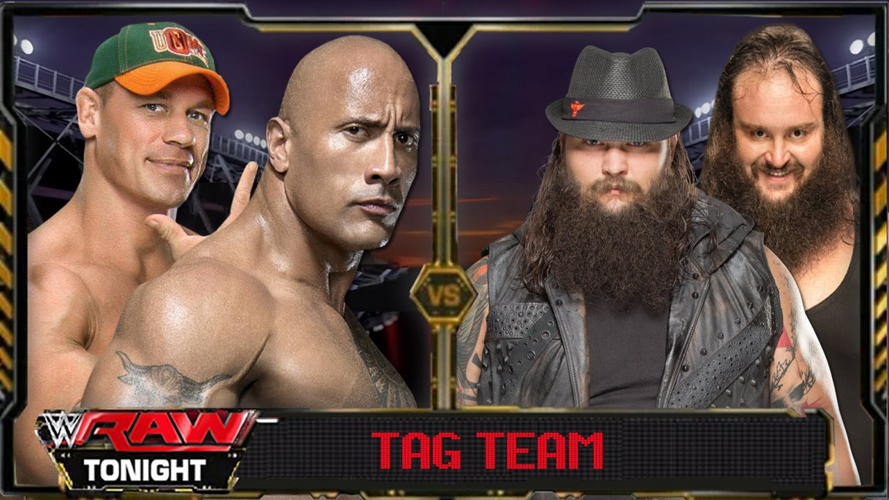 WWE Raw 2016 - The Rock & John Cena Vs Bray Wyatt & Braun Strowman Full  Match HD