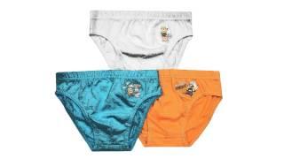 Wholesale Minions Boys Briefs 100% Cotton 3Pk Box Blue/Orange/White 2-8 Years