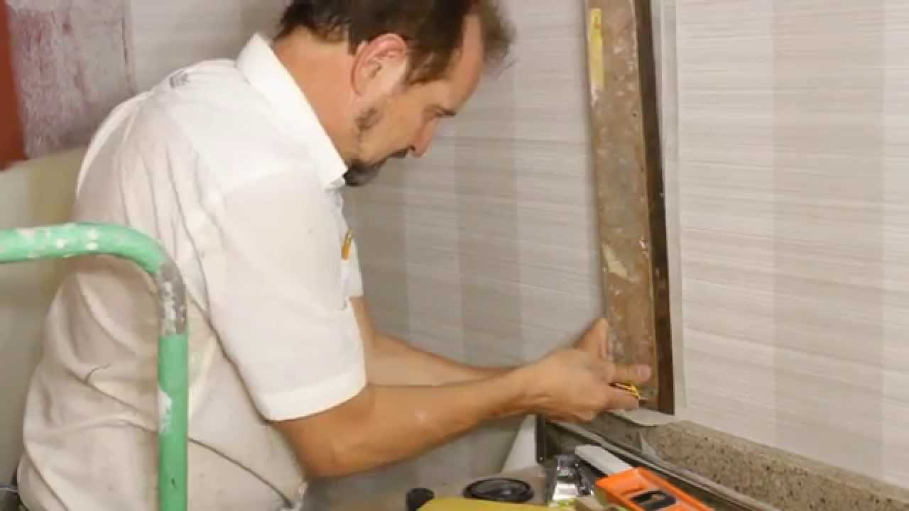 How to install vinyl wallpaper in a washroom youtube for Removing vinyl wallpaper
