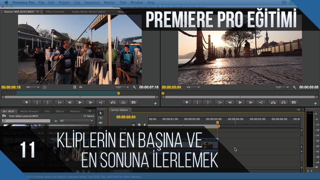 Premiere Pro Eğitimi 11 - Kliplerin en başına ve en sonuna ilerlemek