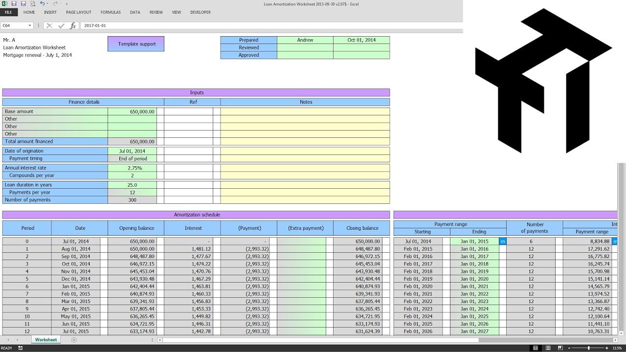 Worksheets Amortization Worksheet tti suite loan amortization worksheet training youtube training