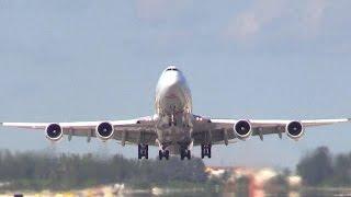 747 Jumbo Jet Awesome Take Off | Rare View - MIA, 2016