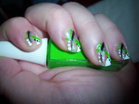 Neon green, black, and silver striped nail design! - Neon Green, Black, And Silver Striped Nail Design! - YouTube